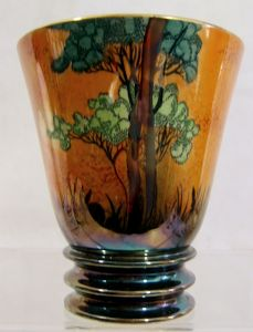 Carlton Ware 'Rabbits at Dusk' (Shadow Bunny) Medium Ribbed Vase - 1930s - SOLD